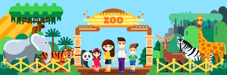 Happy family in zoo, vector flat style illustration. Weekend in park, leisure outdoor concept. Vector Illustration