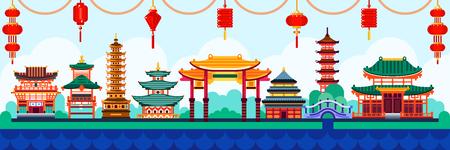 Elementos de diseño de la ciudad china. Viajar a la ilustración plana de vector de China. Fondo tradicional pagoda y linternas.