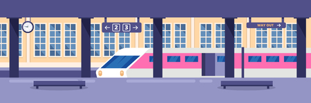 Modern high speed train on empty railway station. Railway passenger public transport, vector illustration. Railroad travel and trip concept.