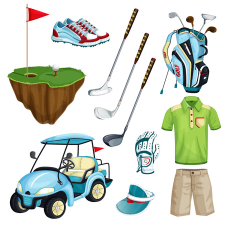 Golf club vector cartoon icons and design elements set. Golf cart, ball, club, bag and clothes illustration. Outdoor leisure activity stuff. Illustration