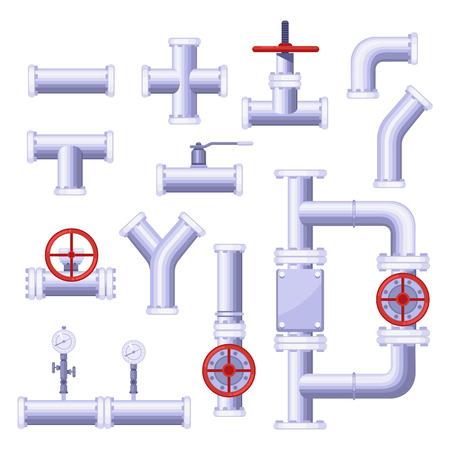 Bauelemente für Gasleitungen. Vektor isoliertes Metallrohr, Ventil, Druck, Hahnsymbole eingestellt. Vektorgrafik