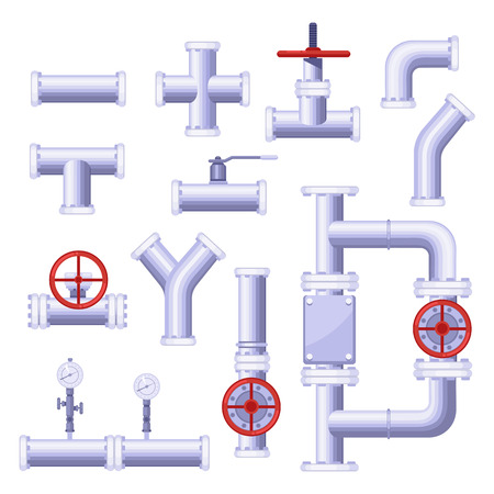 Gas pipeline construction elements. Vector isolated metal pipe, valve, pressure, tap icons set.