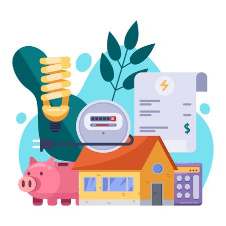 Stromrechnungen und Ressourcenschonungskonzept. Vektor flache Illustration. Zahlung der Stromrechnung.