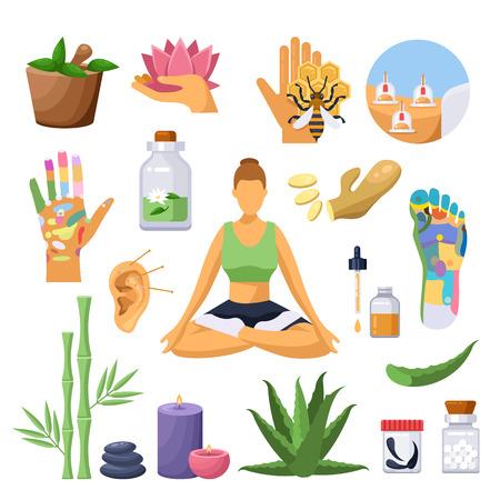 Símbolos de tratamiento y medicina alternativa china. ilustración plana aislada. Conjunto de iconos de acupuntura, masaje, terapia de homeopatía.