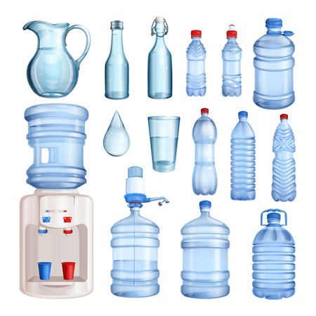 Water in plastic and glass bottles. isolated objects set. Pure mineral water illustration.