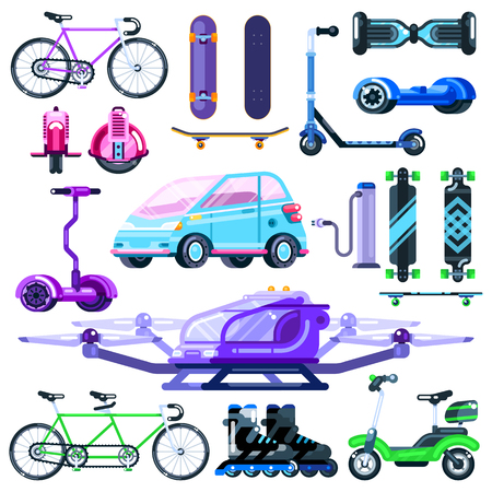 Alternative eco electric transport set.  flat vehicle illustration. Colorful modern devices isolated on white background. Çizim