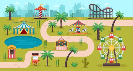 Amusement park map concept. Fun carousels, circus, ferris wheel, fair in family park, vector illustration. Summer landscape background.