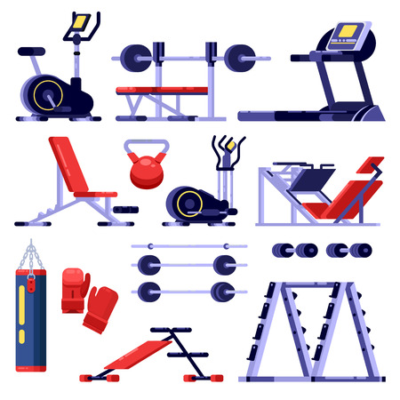 Gym and fitness club equipment set. Training apparatus, vector isolated illustration. Bodybuilding machines icons.
