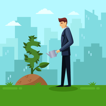Businessman watering green dollar plant. Investment and finance growth business concept. Vector flat illustration. Growing money tree on city background.