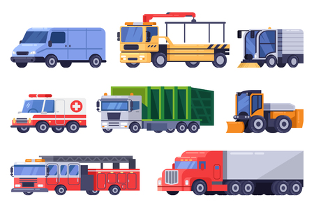 Municipal city road transport and machinery equipment set. Vector flat vehicle illustration. Tow truck, sweeping, machine, snowblower isolated on white background.