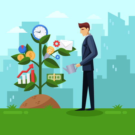 Businessman watering business tree. Planning and growing strategy business concept. Vector flat illustration. Man on city background.