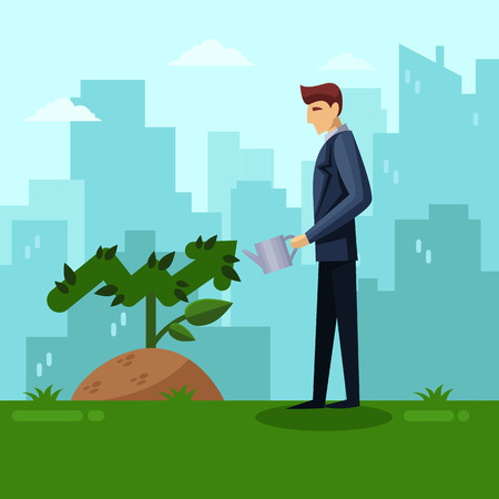 Businessman watering green arrow plant. Growth investment and development business concept. Vector flat illustration. Growing chart tree on city background.