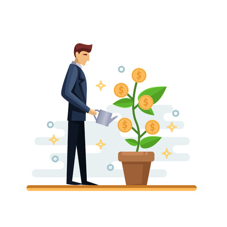 Businessman watering green money tree. Vector flat isolated illustration. Investment and finance growth business concept. Growing plant with golden coins.