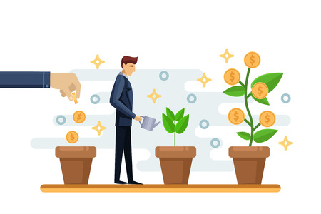 Investment and finance growth business concept. Businessman putting a coin in flowers pot and watering green money tree. Vector flat isolated illustration. 矢量图像