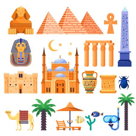 Travel to Egypt  icons and design elements. Egyptian national symbols and ancient landmarks flat illustration.