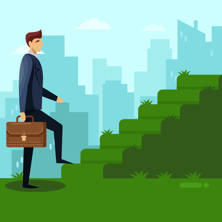 Businessman with briefcase climbs the green grass stairs. Career, job and success business concept. Vector flat illustration. Man walks growing steps on city background. Ilustrace