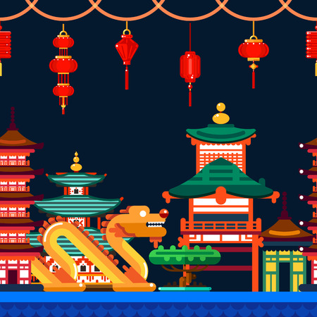 Chinese town seamless horizontal background. Travel to China vector flat illustration. Night Asian cityscape with dragon, pagoda and lanterns.