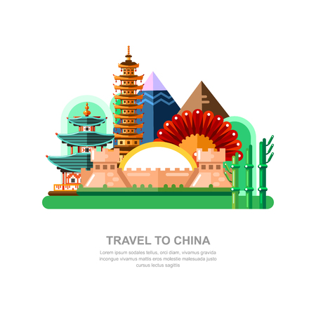 Travel to China vector flat illustration. Chinese wall and other national symbols, landmarks icons and design elements.