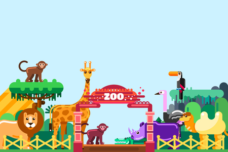 Zoo entrance, vector flat style illustration. Cute animals around colorful gates. Weekend in park, leisure outdoor concept. Reklamní fotografie - 117369917