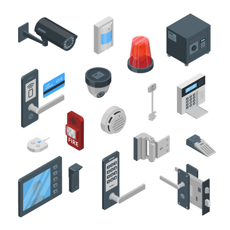 Home security systems vector 3d isometric icons and design elements set. Smart technologies, safety house, control and protection concept. Vetores