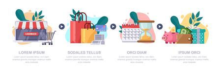 Cashback money, online service concept. Vector infographics template. Cash back rewards, gift and loyalty flat style illustration. Vector Illustratie