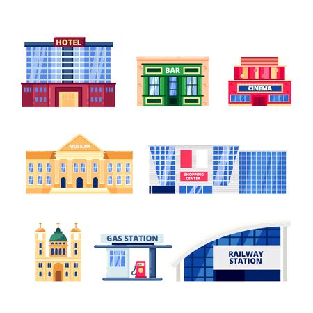 Edifici non residenziali della città, set di icone vettoriali. Oggetti immobiliari comunali isolati su sfondo bianco. Illustrazione di hotel, bar, musei e centri commerciali.