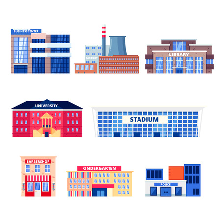City non-residential buildings, vector icons set. Municipal real estate objects isolated on white background. Business center, factory, university and kindergarten illustration. Illustration