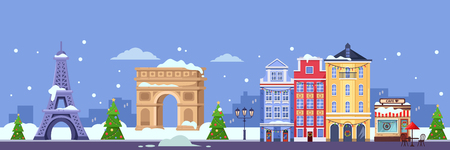 Winter in Paris. Vector flat illustration of cityscape with Eiffel tower, Triumphal Arch and old buildings. Christmas and New Year travel to France.
