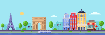Summer season in Paris. Vector flat illustration of cityscape with Eiffel tower, Triumphal Arch and old buildings. Travel to France design.