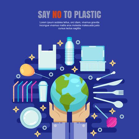 Plastic garbage pollution concept. Say No to plastic vector flat illustration. Ecology and environmental problem banner, poster design. Vektoros illusztráció