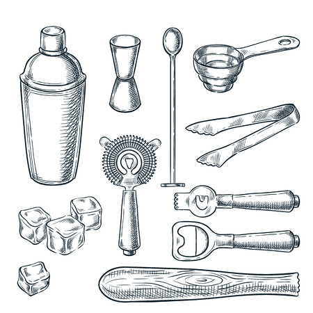 Cocktail bar tools and equipment vector sketch illustration. Hand drawn icons and design elements for bartender work. Stock Illustratie