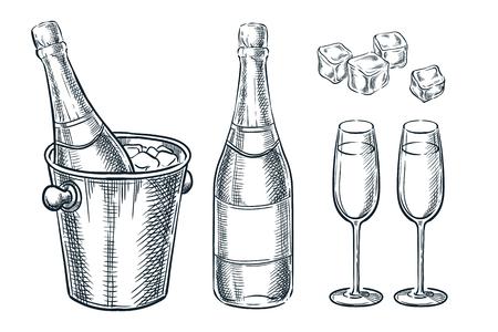 Bottiglia di champagne nel secchiello con ghiaccio e due bicchieri. Illustrazione di schizzo di vettore. Elementi di disegno di celebrazione di festa disegnati a mano.