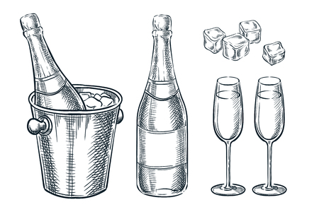 Champagne bottle in bucket with ice and two glasses. Vector sketch illustration. Hand drawn holiday celebration design elements.