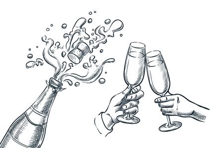 Botella de champagne de explosión y dos manos con vasos para beber. Ilustración de vector de boceto. Celebración de fiestas navideñas de año nuevo, Navidad o día de San Valentín.