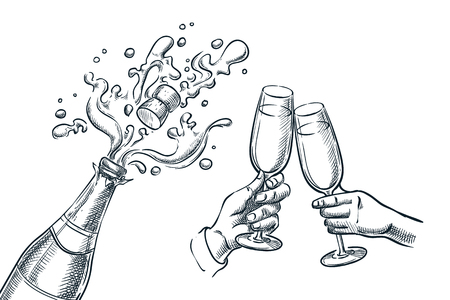 Explosion champagne bottle and two hands with drinking glasses. Sketch vector illustration. New Year, Christmas or Valentines Day holiday party celebration.