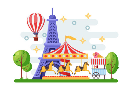 Paris cityscape with Eiffel tower, amusement park carousel and street food trolley. Vector flat illustration. Carnival and holidays festival design elements. Stock Illustratie