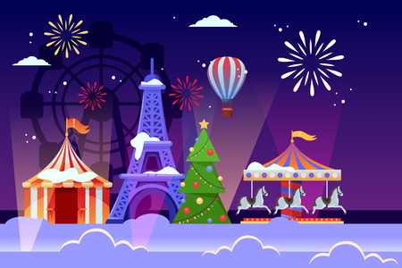 Christmas and New Years holiday in Paris. Vector flat illustration of cityscape with Eiffel tower, Christmas tree and amusement park carousel. Winter festival and travel to France concept.
