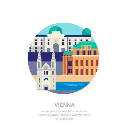 Travel to Austria vector flat illustration. Vienna city symbols and touristic landmarks. City building icons and design elements. Ilustração