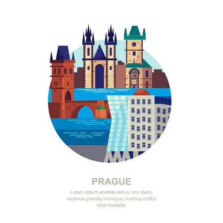 Reisen Sie nach Tschechien flache Vektorgrafik. Prager Stadtsymbole und touristische Sehenswürdigkeiten. Stadtgebäudeikonen und Designelemente.