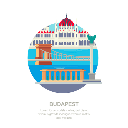 Travel to Hungary vector flat illustration. Budapest city symbols and touristic landmarks. City building icons and design elements.