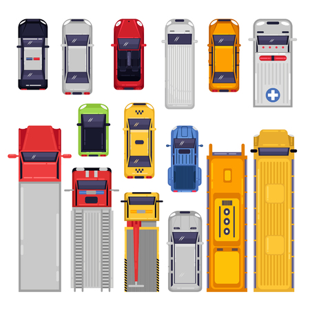 City transport icons set. Top view illustration. Vector flat vehicle isolated on white background.