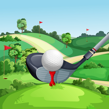 Golf club and ball on green golf course, vector illustration. Summer landscape cartoon background.