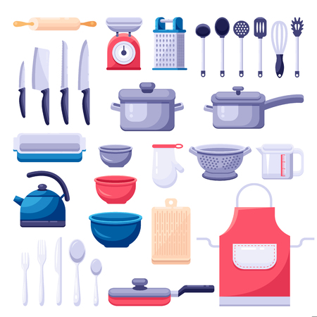 Kitchen utensil icons and design elements set. Cooking and kitchenware modern tools. Vector colorful flat illustration.