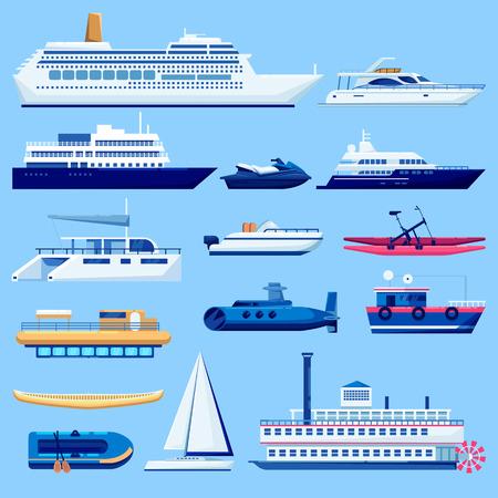 Symbole für den Transport von Wasserfahrzeugen festgelegt. Vektor flache Fahrzeugillustration. Segelboote, Kreuzfahrtschiff, Yacht auf blauem Hintergrund.