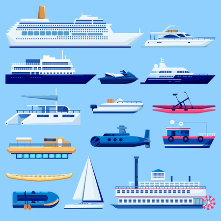Water vessel transport icons set. Vector flat vehicle illustration. Sail boats, cruise ship, yacht on blue background. Banco de Imagens - 114530642