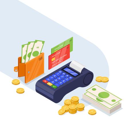 Ensemble d'icônes de méthodes de paiement. Vecteur de transfert d'argent 3d illustration isométrique. Carte de crédit, dollars en espèces et terminal bancaire isolé sur fond blanc. Vecteurs