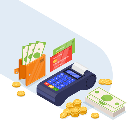 Payment methods icons set. Money transfer vector 3d isometric illustration. Credit card, dollars cash and bank terminal isolated on white background. Vettoriali