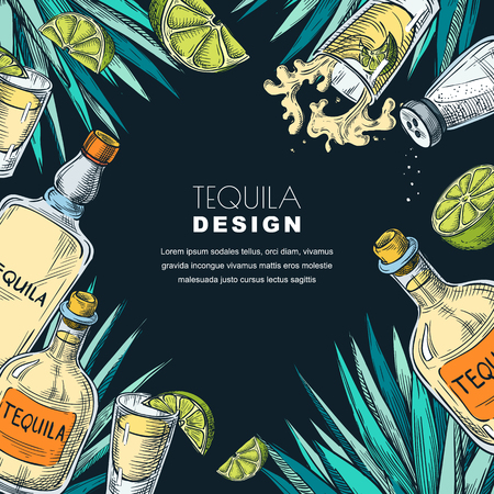Tequila label design template. Sketch vector illustration of bottles, shot glass, lime and agave. Bar menu black frame background.