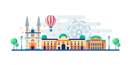 Vienna cityscape with famous touristic landmarks. Vector flat illustration. Travel to Austria horizontal banner design elements.