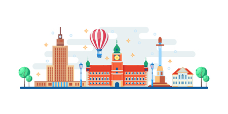 Warsaw cityscape with famous touristic landmarks. Vector flat illustration. Travel to Poland horizontal banner design elements.